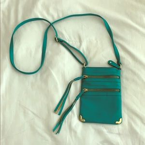 small teal turquoise crossbody purse